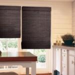cortinas romanas en madera color negro