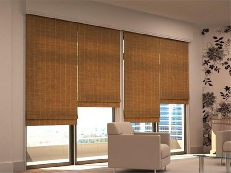 Cortinas Romanas bambu sofa