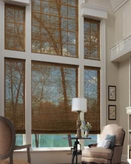 Cortinas Romanas bambu ventana alta